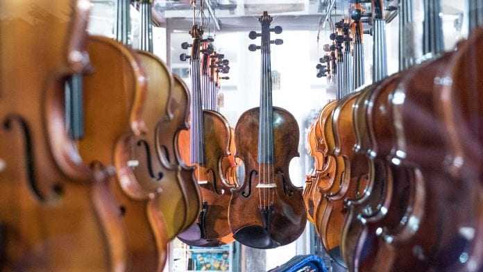 violins on a store
