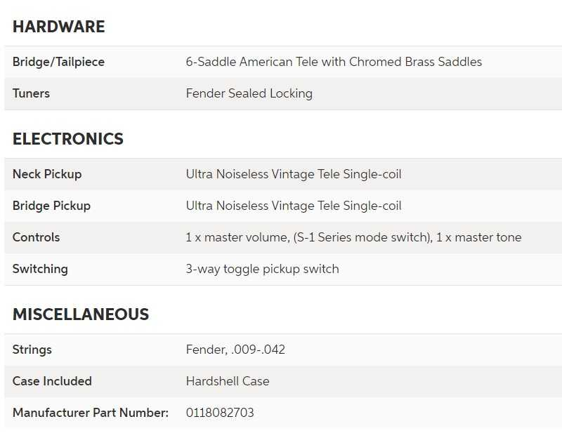 fender american luxe telecaster specs continuation