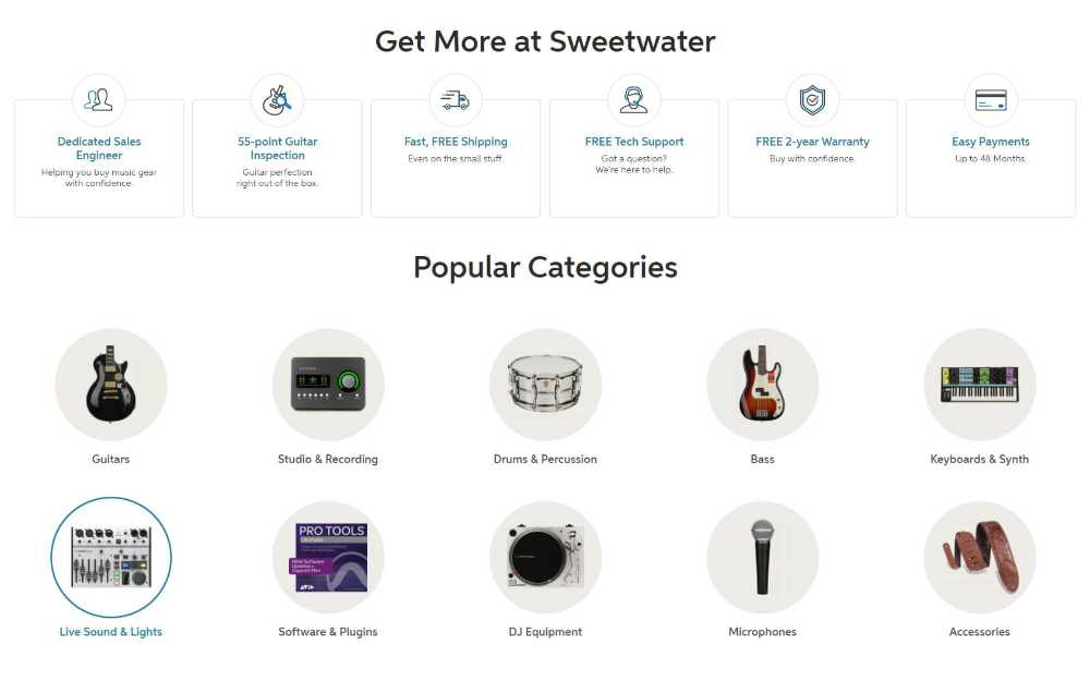 Sweetwater Support and instruments